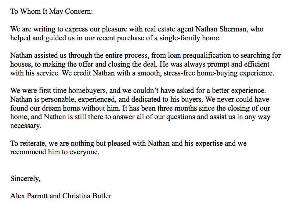 Testimonials - Nathan Sherman - East Sacramento Real Estate