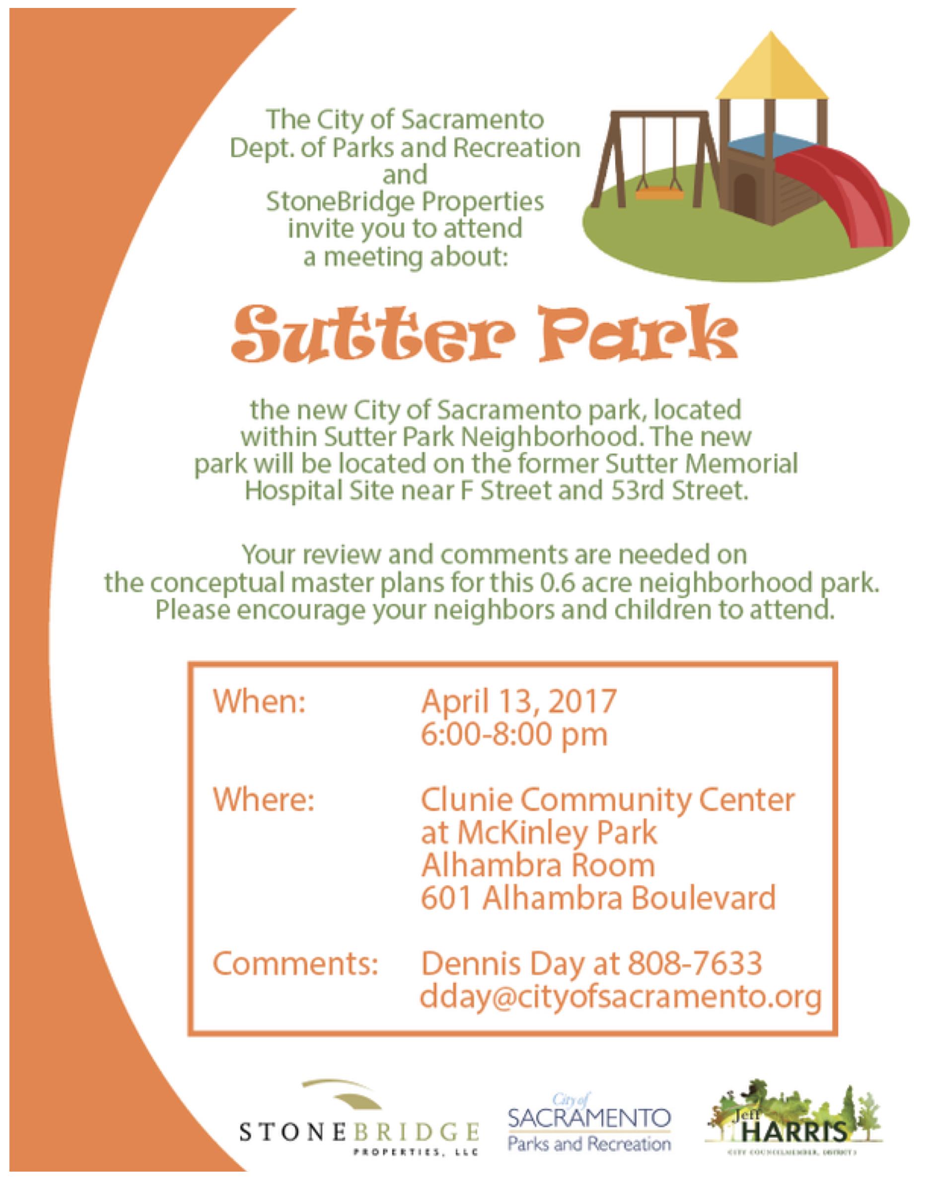 Sutter Park Neighborhood Park Meeting